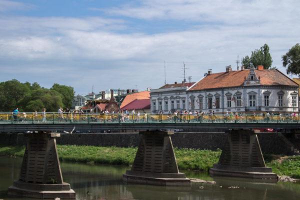 Тур по Закарпатью. Мост в центре Ужгорода