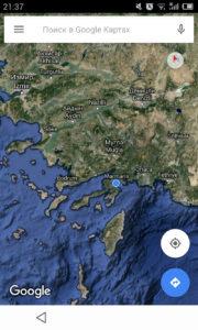 Турция Мармарис. Район отдыха на картах Google